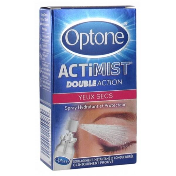 Optone ActiMist 2 in 1 Eye Spray Dry and Irritated Eyes 10ml is a liposomal eye spray that repairs the moisturizing natural film of the eye reducing the loss of hydration