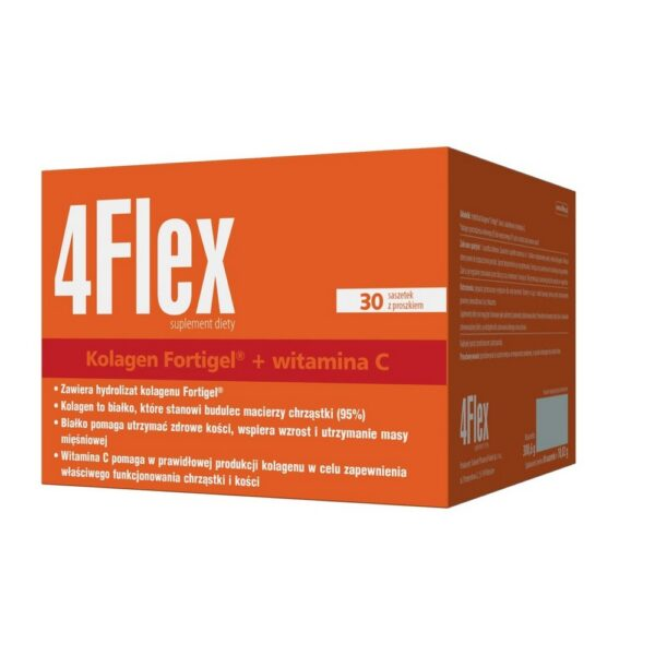 4Flex dietary supplement is an easily absorbable Fortigel ® collagen hydrolyzate in the form of sachets with powder. Each sachet is up to 10 g of unique collagen hydrolyzate - Fortigel ®. The unique