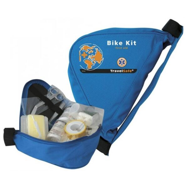 Practical pharmacy for cyclists designed for easy attachment to the bike containing 43 items