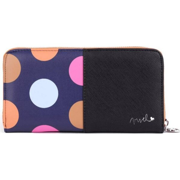Black women's purse Vuch Tramy. Hilarious motif in polka dots with silver Vuch logo.