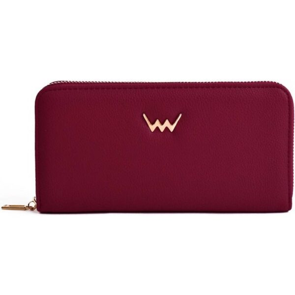 Vuch women's burgundy-colored leather purse zippy Collection Violetie Vida. It has an external zippered pocket.