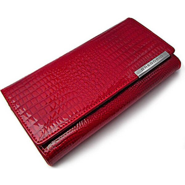 Wild leather women's purse of luxurious red color is not only beautiful