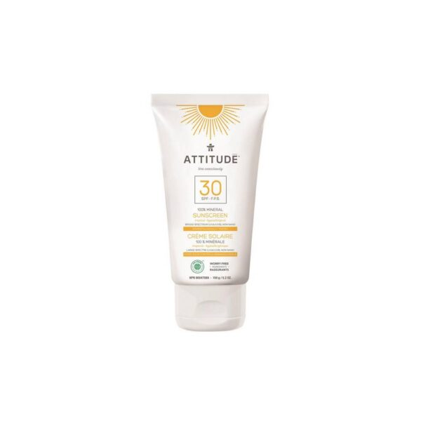 Mineral sunscreen SPF 30 with tropical scent protects against UVA and UVB radiation due to the content of zinc oxide in the non-nano-form.