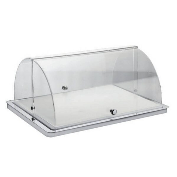 Dimensions: 530 x 235 x 19 mm. Stainless steel tray. Transparent Roll-Top lid.