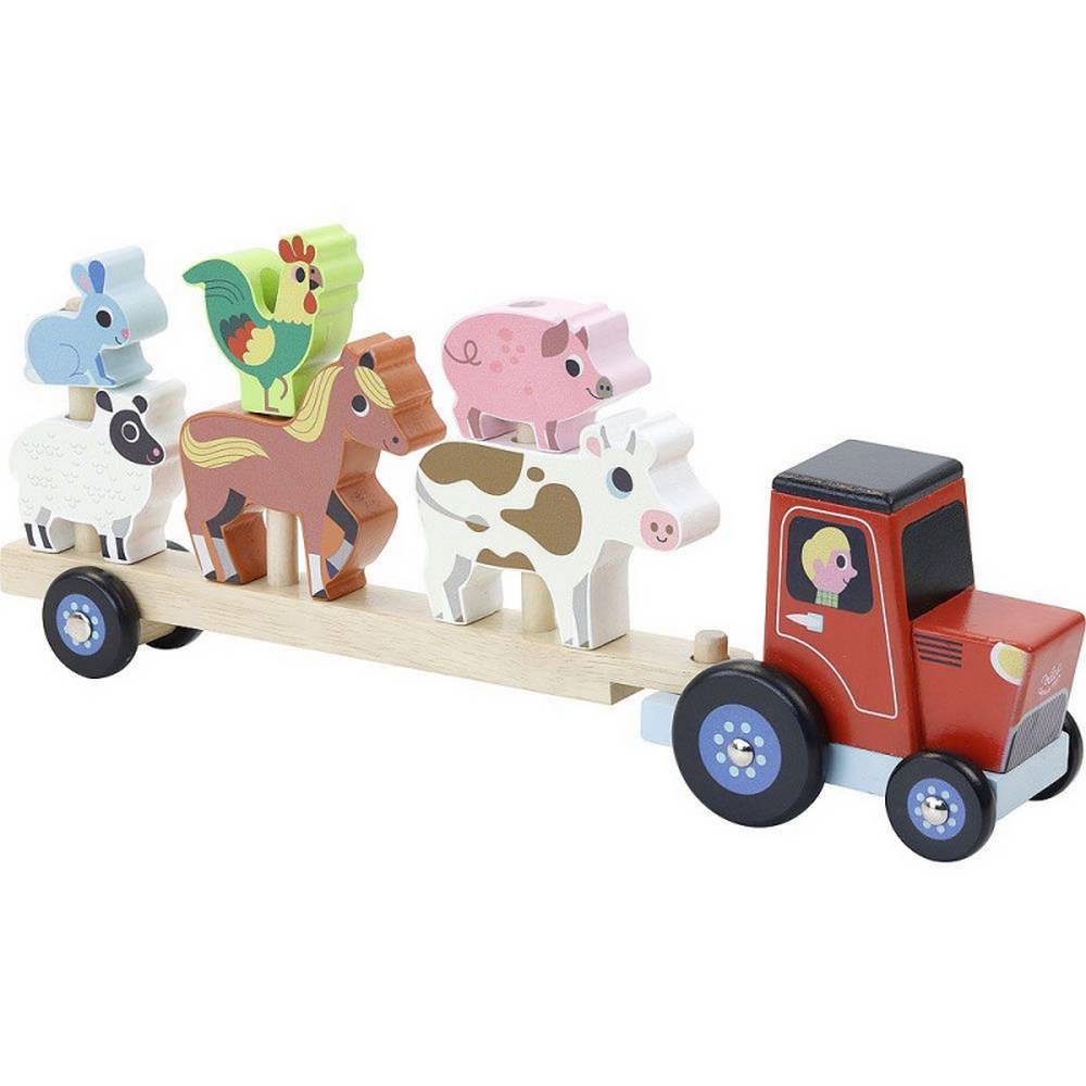 Vilac tractor with animals for mounting