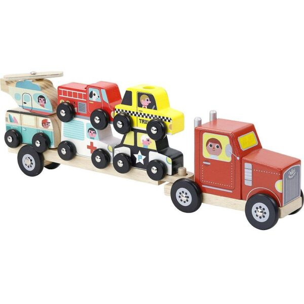 Vilac wooden truck with toy cars for deployment