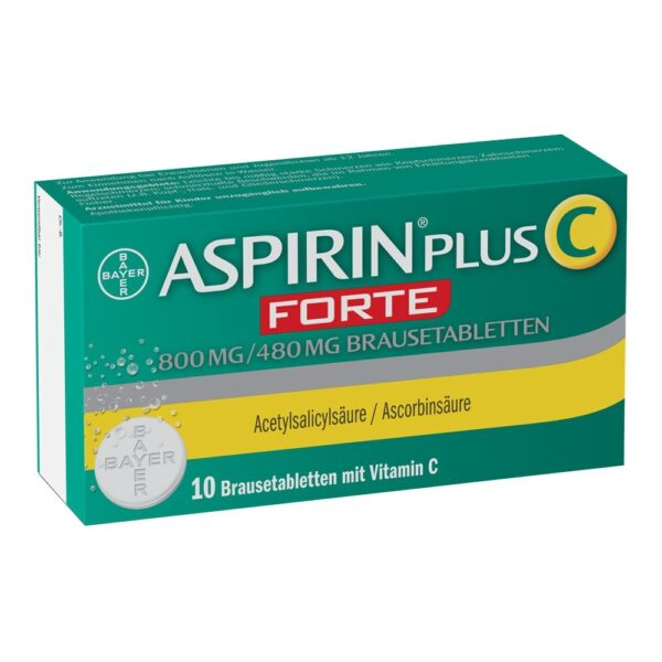 Aspirin plus C Forte 800mg / 480mg (pack size: 10 pieces) relieves cold- related sore throats , headaches and limbs and lowers fever.
