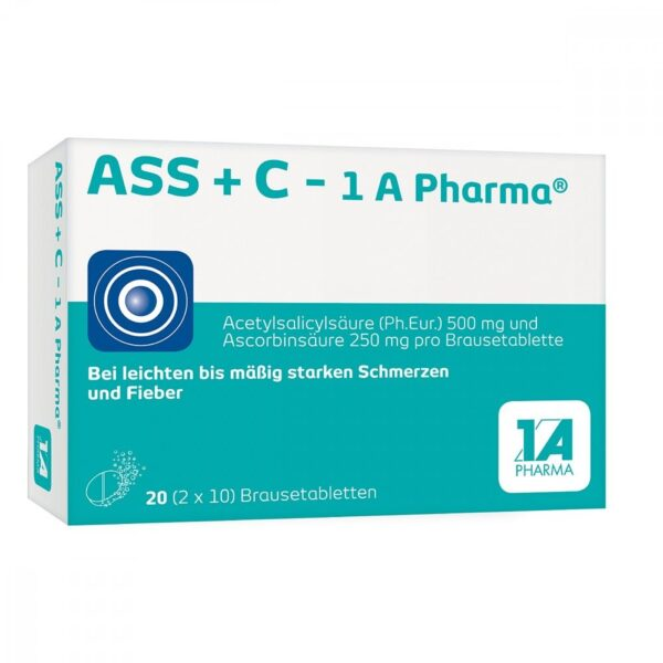 ASS + C-1A Pharma (pack size: 20 pcs) are a pain reliever and antipyretic drug. You can use the preparation for mild to moderately severe pain (headache, toothache, menstrual pain), pain associated with colds and fever.