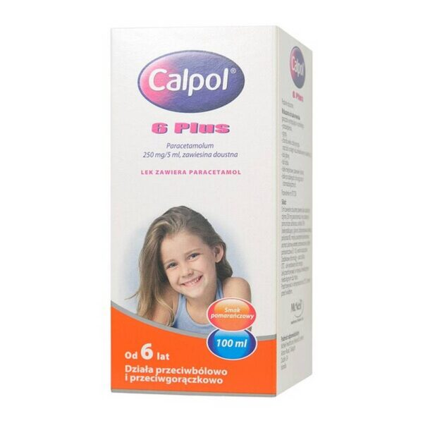 Calpol 6 Plus suspension is a medicine for pain and fever in children from 6 years of age, incl. in the course of colds and flu. Calpol 6 Plus contains paracetamol used for minor or moderate pain, e.g. muscle pain, toothache, headache. Always use this medicine exactly as described in the package leaflet or as recommended by your doctor or pharmacist.