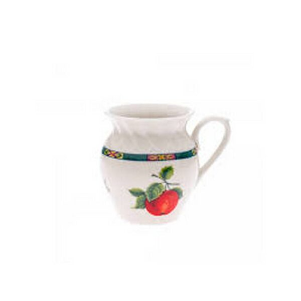 Porcelain mug in a ivory ivory shape and embossed decoration at the top of the mug.