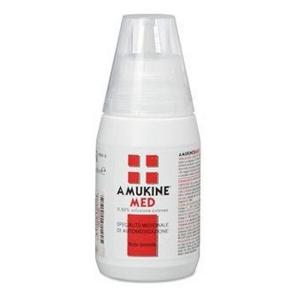 Amukine Med Cutaneous Solution is used in the disinfection and cleaning of damaged skin and in the disinfection of the external genitalia.