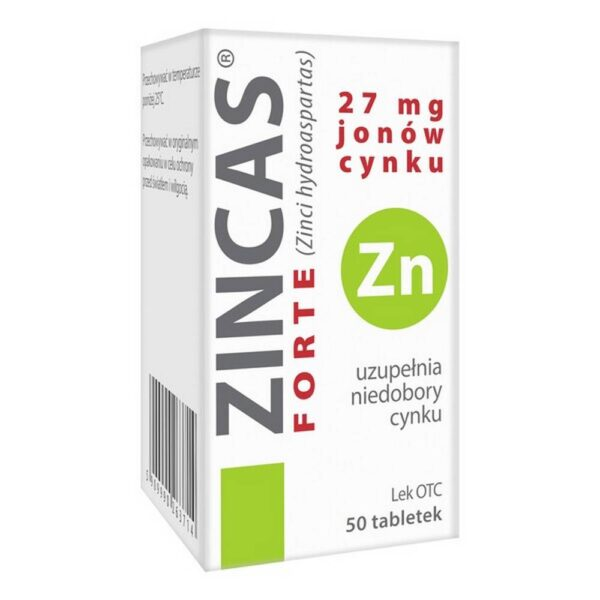 Zincas forte - a medicinal product containing zinc - a microelement, which takes part, among others, in in the synthesis of sex hormones, it reduces the susceptibility to allergies and infections, has a positive effect on the pancreas and insulin secretion.