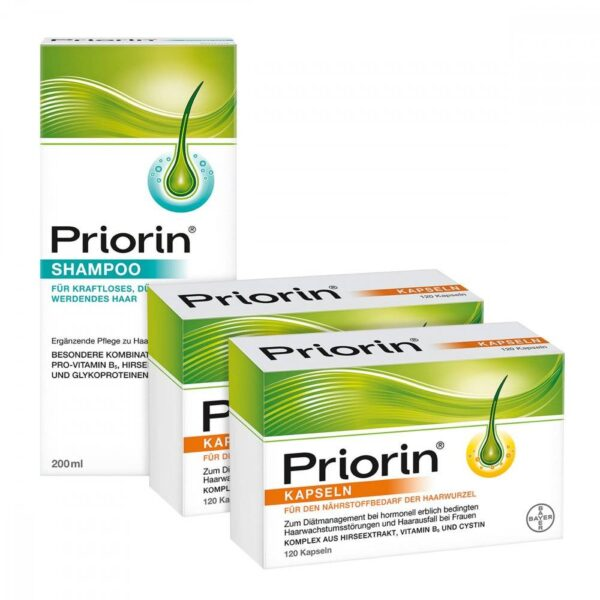 Priorin Neu capsules for diet management in the case of hormonally hereditary hair growth disorders and hair loss in women