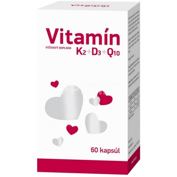 Dietary supplement with a unique combination of vitamins K2 and D3 and coenzyme Q10. Vitamin D3 contributes to the maintenance of normal bone and normal muscle and tooth function and the normal function of the immune system. Vitamin K2 contributes to normal blood clotting.
