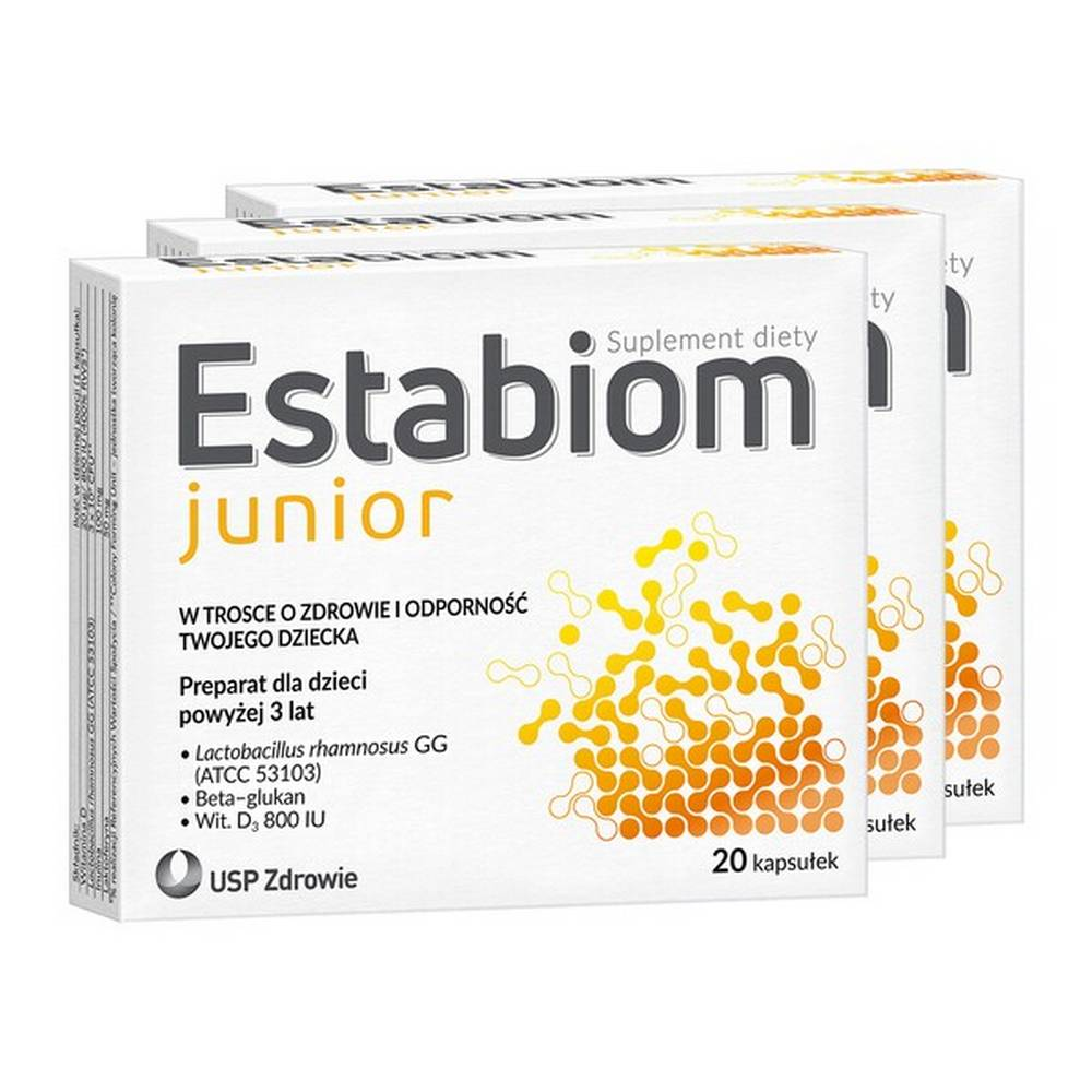 The Estabiom Junior dietary supplement is a preparation for children over 3 years of age. It provides one of the best-studied strains of intestinal bacteria - Lactobacillus rhamnosus GG. Thanks to microencapsulation, bacteria effectively reach the intestine, and inulin supports their multiplication.