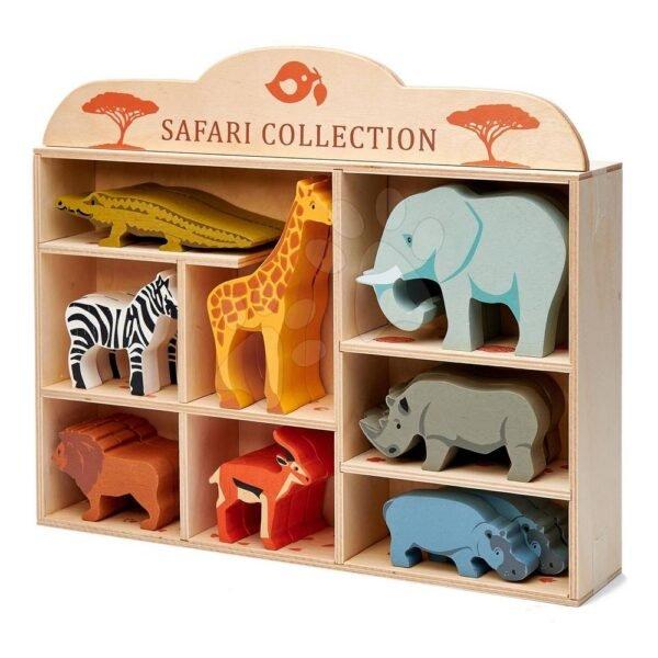 Wooden wild animals on a shelf 24 pcs Safari set Tender Leaf Toys