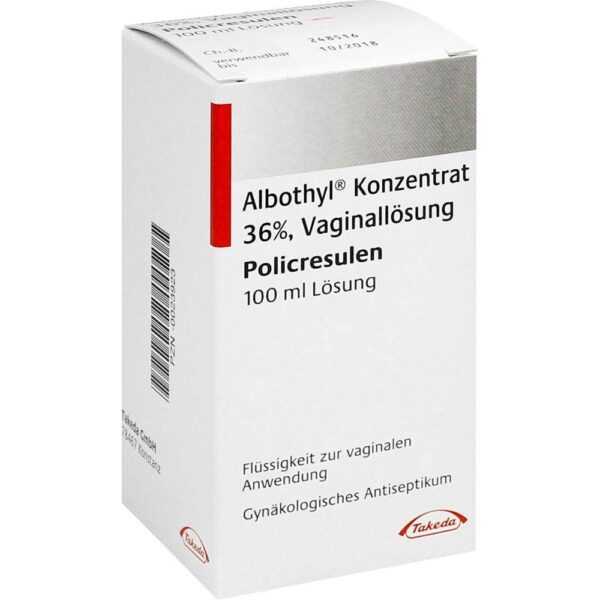 Albothyl concentrate is a germicidal drug for use in the vagina (gynecological antiseptic).