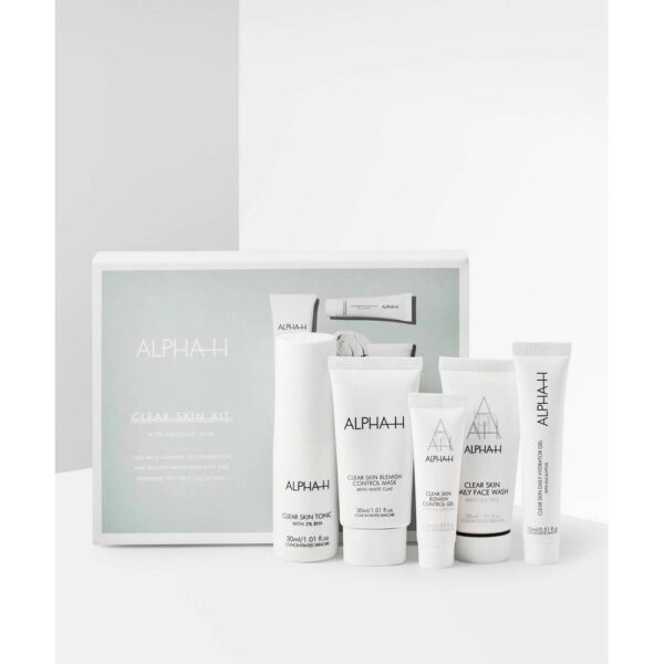 A mini-box of five facial care products.