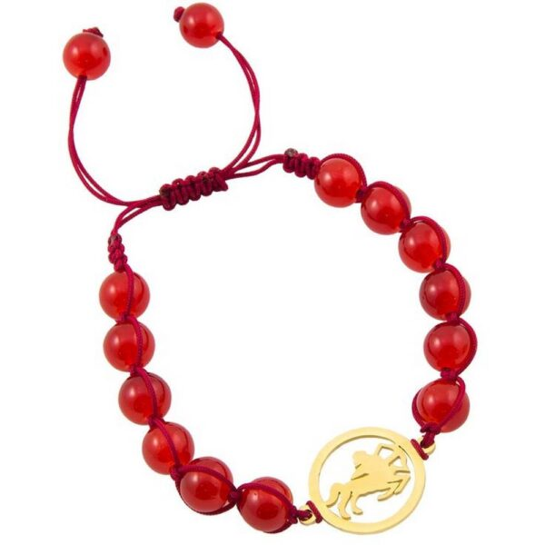 The Feng-Shui Bracelet for Happiness is made of red beads and a Chinese lucky coin